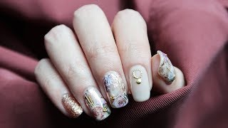 2019   新年美甲   优雅层叠印花   New Year Floral Nail Art   DIY