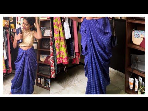 #drapingseries - How to Drape a Saree as Dhoti Pants | Saree Draping | nayalooks | Navya Varma
