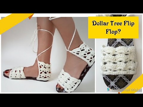 ⭐Crochet Sandals With Flip Flop Soles⭐ Day 5 Scrap Yarn Crochet Projects