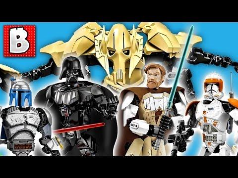 Download All Six Lego Star Wars Buildable Figures! Grievous Vader Obi-Wan Commander Cody Jango Fett Skywalker Mp4 HD Video and MP3