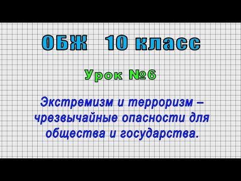 ОБЖ 10 класс (Урок№6 - Экстремизм и терроризм – чрезвычайные опасности для общества и государства.)
