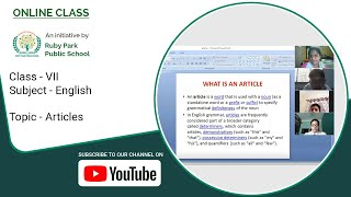 Articles – What Is An Article | English Subject For Class VII | Ruby Park Public School Thumbnail