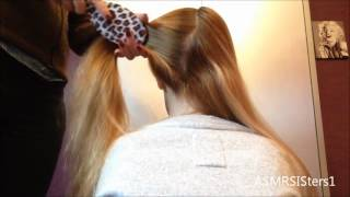 ♥ ASMR Hair Brushing, Making Ponytails & Braiding ♥ ZZzzzzzzz