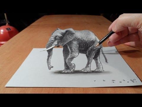 vẽ tranh 3D con voi vãi cả vẽ