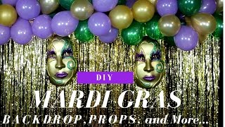 DIY   Mardi Gras Party Decorations   Mardi Gras Backdrop   DIY Mardi Gras Masks