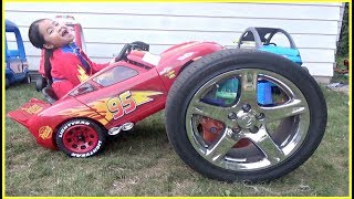 Kids Pretend Play with Lightning McQueen Power Wheels Ride On Car