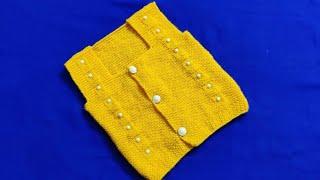 How to knit woolen half sweater vest for newborn to 1 year old baby|Front|Part-2|Woolen Tutorial#80