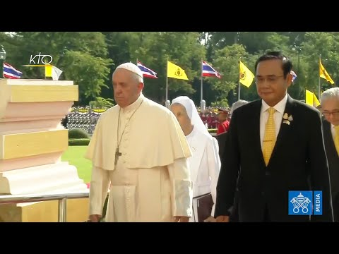 Cérémonie de bienvenue du pape en Thaïlande