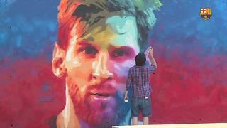 Leo Messi graffiti art pops up in Barcelona