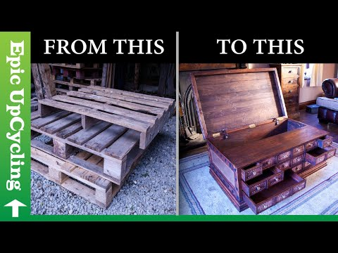 Man builds apothecary Chest out of Plywood with soothing music