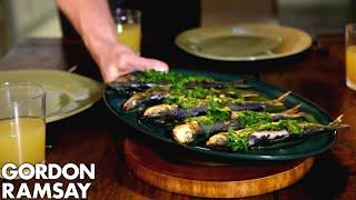Orzo Pasta Salad with Grilled Sardines | Gordon Ramsay