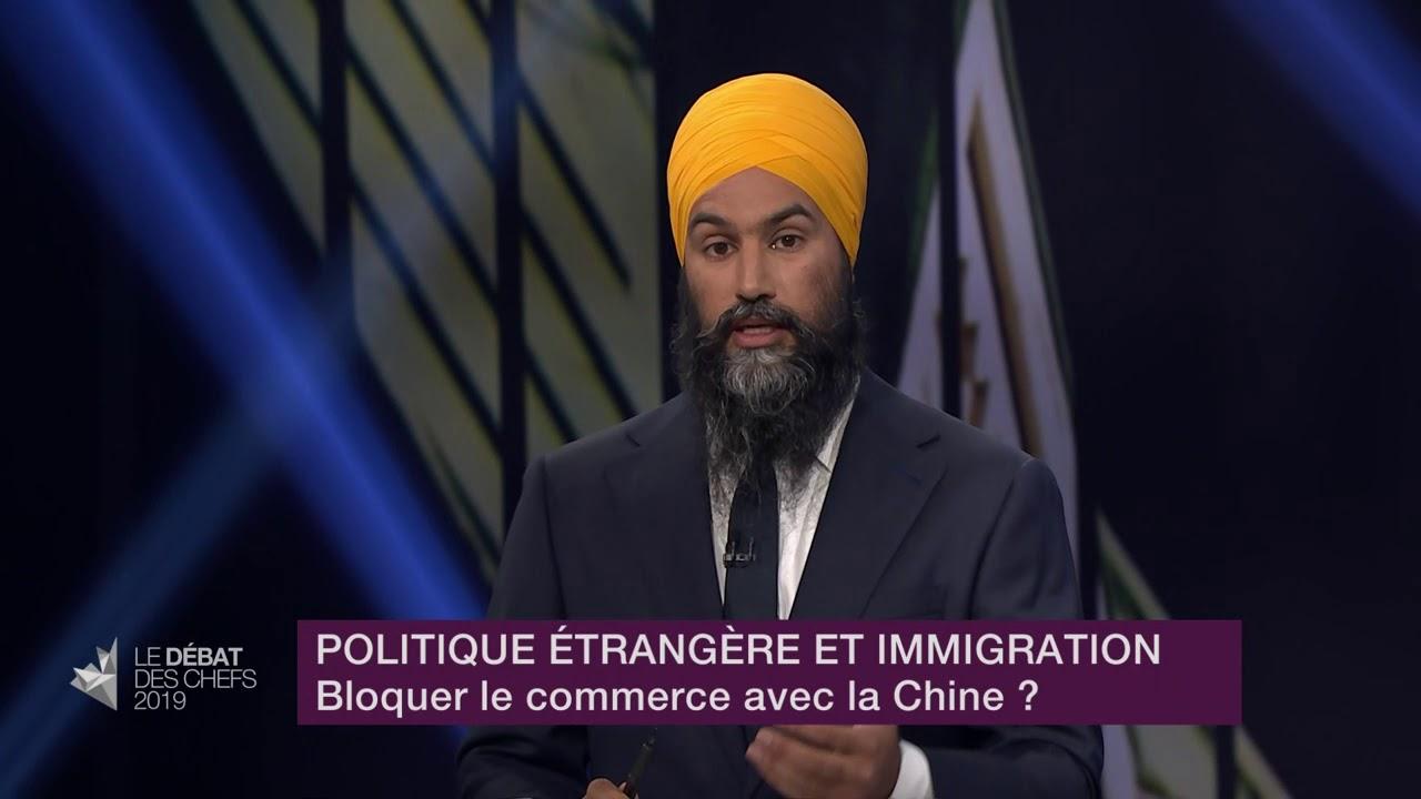 Jagmeet Singh répond à la question sur les relations commerciales et diplomatiques avec la Chine