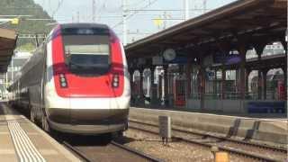 preview picture of video 'Swiss Trains - Brugg / Schweizer Eisenbahnen'