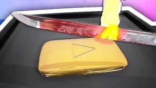1000 DEGREE SWORD VS YOUTUBE GOLD PLAY BUTTON!
