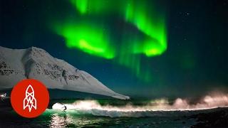 Surfing Under Northern Lights | That