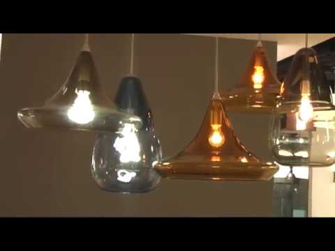 Video for Capsian Satin Nickel One-Light Grande Mini Pendant with Steel Blue Glass