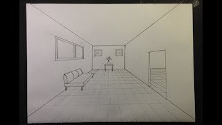 How To Draw A Simple Room In One Point Perspective #2