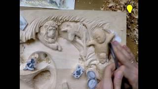 Alice in Wonderland wood carving
