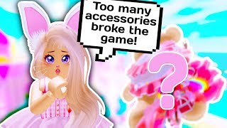 I PUT ON ALL OF MY ACCESSORIES AT ONCE AND BROKE THE GAME // Roblox Royale High School