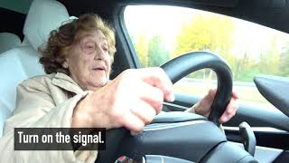 """92 year-old Roosi gets to drive a Tesla Model X: """"I'll take it!"""""""