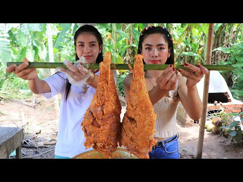 Yummy goat leg roasted with bread recipe with my sister