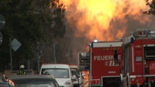 Trümmerfeld in Wohngebie bei Explosion in Ludwigshafen Germany  am 23.10.14
