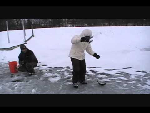 Ice Fishing Central Illinois Pond With Big Fish