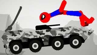 Stickman Destruction 5 Annihilation - Spiderman vs Tank! Gameplay Part 7