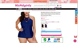 WoldGirls Womens Plus Size Crochet Halter Tankini Swimsuit 2pcs Bathing Suit Swimwear Navy
