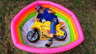 Funny Video For Children Baby Ride on Cross SportBike Power Wheel Pocket Magic Hide and Seek Pool