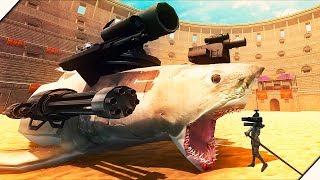 ОГРОМНАЯ АКУЛА МЕГАЛОДОН против РЫЦАРЕЙ   Игра Beast Battle Simulator  Битва динозавров
