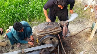 Diesel Engine Start Up   Tubewell Agriculture Farming Technology In Punjab Pakistan