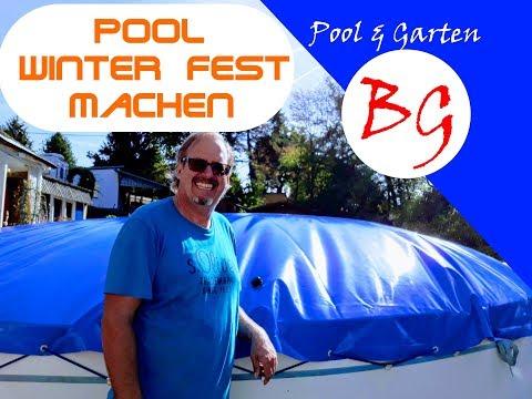 6. Pool Winterfest machen mit aufblasbarer Poolabdeckung