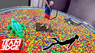 Shoot the Person Swimming in the Ball Pit!! | 10,000 Play Balls in a Pool!!