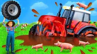 Kinder spielen mit Traktor, Bagger, Lastwagen & Spielzeugautos