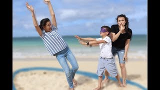 Blindfold HIDE & SEEK on the BEACH! Last one WINS!