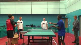 Damon Albarn, Blur & Gorillaz, gets table tennis coaching from England players for Radio 4