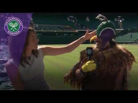 Wimbledon 2017 - Fan comes dressed as Rufus the Hawk