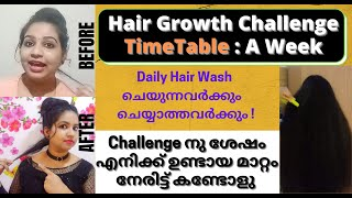 Hair Growth Challenge Timetable For A Week / For Daily Hair Wash And Those Who Do Not / Allu And Me
