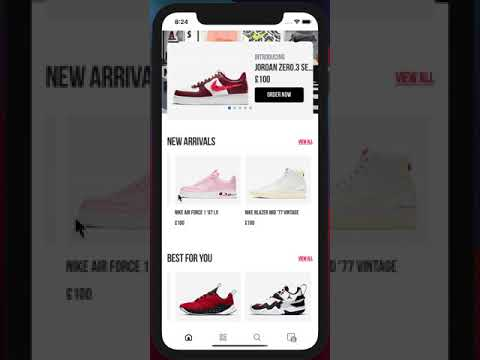 Nike React Native App - demonstração iOS