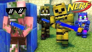 FNAF vs Monster School : NERF BATTLE CHALLENGE - Minecraft Animation