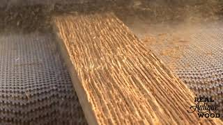 Real Antique Wood Using Drum Sander with Steel Wire Brush on Douglas Fir Creating Grain Texture