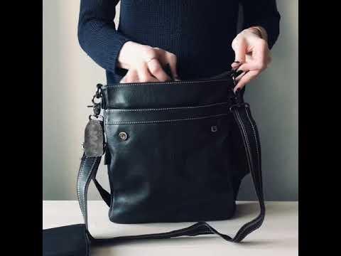 Мужская кожаная сумка через плечо BEXHILL темно-коричневого цвета Video #1