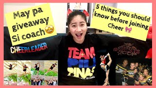 5 THINGS YOU SHOULD KNOW BEFORE JOINING CHEER! (GIVEAWAY Cheer Shirt)