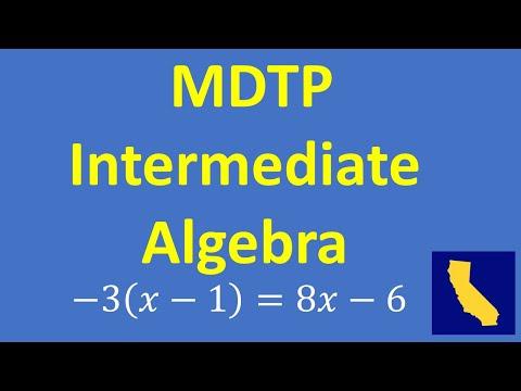 MDTP Intermediate Algebra Readiness Assessment – Practice Problem