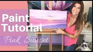 EASY PAINT TUTORIAL acrylics for beginners | HOW TO PAINT A PINK SUNSET