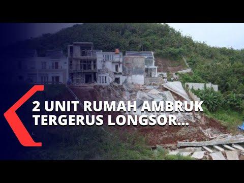 Detik-Detik 2 Unit Rumah Mewah di Perumahan Citraland Lampung Ambruk Tergerus Longsor