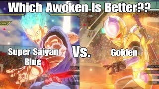 Xenoverse 2 Skill Test! Super Saiyan Blue Vs. Golden!! Which Awoken Is Better!??