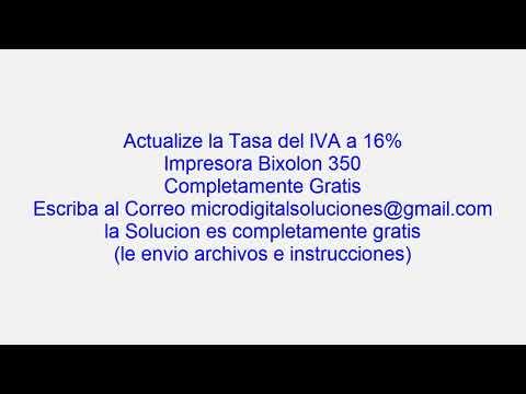 cambio de tasa al 16% en impresora bixolon 350 (Solo Venezuela)