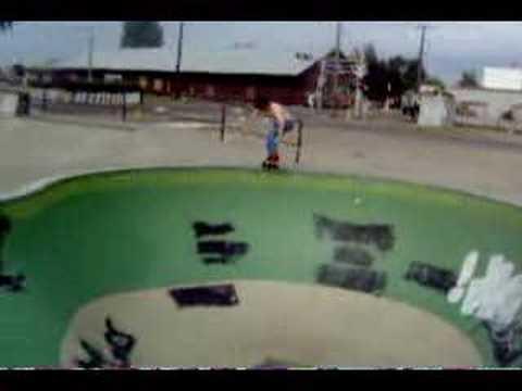 Dave Chavez skating the Donald Skatepark pool.